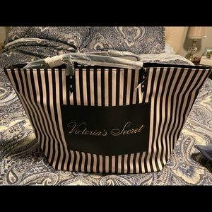 Victoria Secret Black and White Striped Tote Bag